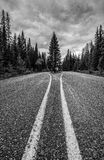 Road Less Traveled By. A remote road in the Rocky Mountains of Banff National Park in Canada Royalty Free Stock Photo