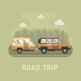 Road Traveler SUV and Camper Trailer Concept Royalty Free Stock Photos