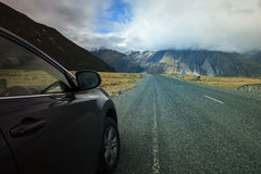 Road traveling to aoraki - mt.cook national park important natur Royalty Free Stock Photography