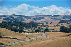 Road travels across rurual California landscape. With foggy skies Royalty Free Stock Photo