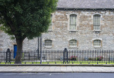 Road, tree, stone wall, iron fence. Dublin Stock Images