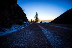 A road and a tree at sunrise atop a mountain royalty free stock photo