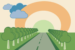 Road between trees Royalty Free Stock Photography