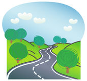 Road with trees on both sides. Two-way road with green trees on both sides in summer Royalty Free Stock Photos