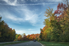 Road with trees. Driving shot, vehicle point-of-view, sunny day with wonderful sky Royalty Free Stock Photography