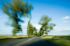 Road and trees with motion blur Royalty Free Stock Photos