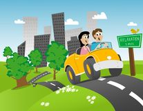 Road Trip. Illustration of a couple getting away from the city for some relaxation Royalty Free Stock Image