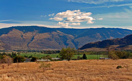 Road Trip. Approaching BC's (Canada) sunny Okanagan Valley and wine country stock photos