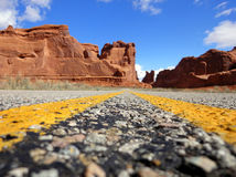 Road Trip. A unique angle of a road trip through Utah's rock formations Stock Photos