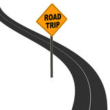 Road trip. Road sign showing road trip, a road leading to a promising road trip experience, concept of travel by car or bus Royalty Free Stock Photography