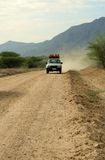 Road Trip. A truck driving along a dirt road in Ethiopia Royalty Free Stock Images