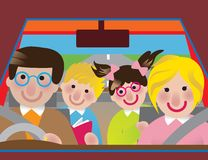 Road trip. Colorful illustration of happy family in a road trip right hand driver Royalty Free Stock Images