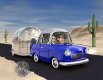 Road Trip. A cartoon Image of a couple driving in the deset towing a camper trailer Royalty Free Stock Photography