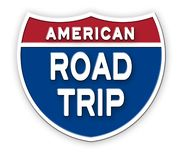Road Trip America Sign Logo Art. Interstate Highway Roadside Freeway USA United States stock illustration