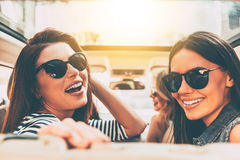 Road trip with beauties. Stock Photos