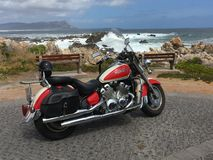 Garden route on a bike, road near Chapman`s peak, South Africa stock photography