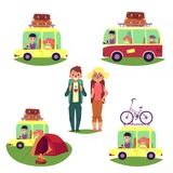 Road trip, camping, people travelling by car, bus Stock Photos