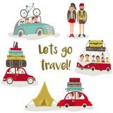 Road trip concept, set of people trvelling by car. Road trip - bus and cars with baggage, bike, luggage on top, tent and hiking people, flat cartoon vector Stock Image