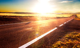 Road trip concept and sunset Royalty Free Stock Image