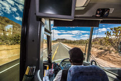 Road trip. In desert by buss Royalty Free Stock Photography