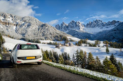 Road trip in the Dolomites in winter Stock Image