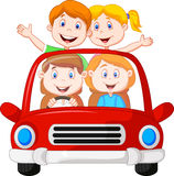 Road Trip with family cartoon Stock Images