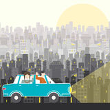 Road Trip. Family in a road trip - man, women in the car riding with city background. Auto vacation illustration made in Royalty Free Stock Photos
