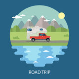 Road trip flat design. camper Royalty Free Stock Images