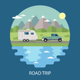 Road trip flat design Royalty Free Stock Images