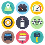 Road Trip Flat Icon Set Stock Photos