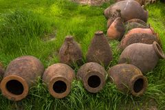 Ancient clay wine jugs royalty free stock image