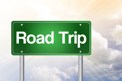 Road Trip Green Road Sign Royalty Free Stock Photography