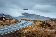 Road through the landscape of Scotland. The road trip through Isle of Skye in Scotland was very amazing royalty free stock photo
