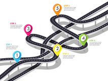 Road trip and Journey route background. Business and Journey Infographic Design Template. Stylish 3D Winding roads of the flyover. Vector EPS 10 Stock Photo