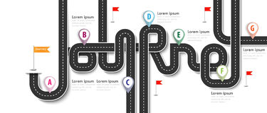 Road trip and Journey route. Business and Journey Infographic Design Template with flags and place for your data. Winding roads on a white background. Vector Stock Photography