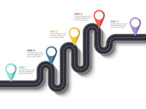 Road trip and Journey route. Business and Journey Infographic Design Template with pin pointer and place for your data. Winding road on a white background Royalty Free Stock Photos