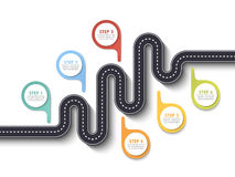 Road trip and Journey route. Business and Journey Infographic Design Template with pin pointer and place for your data. Winding road on a white background Stock Photos