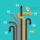 Road trip and Journey route. Business and Journey Infographic. Stylish Serpentine in the form of arrows. Winding roads on a colorful background. Vector EPS 10 Stock Photo