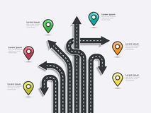 Road trip and Journey route. Business and Journey Infographic. Stylish Serpentine in the form of arrows. Winding roads on a white background. Vector EPS 10 Stock Image