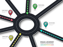 Road trip and Journey route infographic template with pin pointer. Road trip, journey route and road to success. Business and Journey Infographic with pin Stock Image