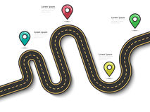 Road trip and Journey route infographic template with pin pointer. Road way location infographic template with pin pointer. Winding road on a white background Stock Photography