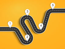 Road trip and Journey route. Road way location infographic template. Winding road on a colorful background. Road for the journey. Infographics for the journey Stock Photos