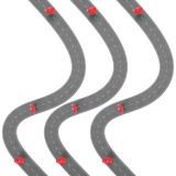 Road trip and Journey route. Winding Road on a white background with Pin Pointer. Road way location infographic template. With pin pointer. 3d Rendering Stock Photo