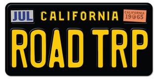 Road Trip License Plate California. Road Trip License Plate Art Black Vintage CA collectable decor piece car auto fun travel vector illustration