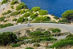 Road trip through mallorca. With amazing view to the cap formentor by bike Stock Photography