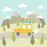 Road trip. Mountain landscape. Vector EPS 10 hand drawn illustration Royalty Free Stock Images