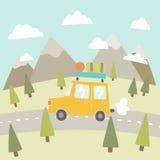 Road trip. Mountain landscape. Vector EPS 10 hand drawn illustration vector illustration
