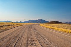 Road trip in the Namib desert, Namib Naukluft National Park, travel destination in Namibia. Travel adventures in Africa. Road trip in the Namib desert, Namib Royalty Free Stock Photography