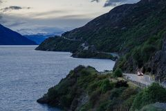 Road trip on New Zealand winding road stock photo