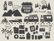 Road trip packing list infographic elements Stock Image